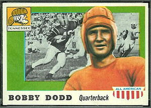 1928 Florida Gators football team - Tennessee quarterback Bobby Dodd depicted on a football card from the 1950s.