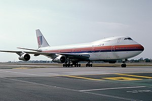 United Airlines Flight 811 - N4713U, photographed in 1982 at Los Angeles, prior to losing the cargo door and part of the fuselage.