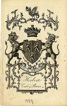 A bookplate showing the coat of arms for the Earl of Powis