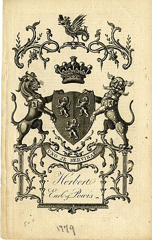 Earl of Powis - A bookplate showing the coat of arms for the Earl of Powis (2nd Creation)