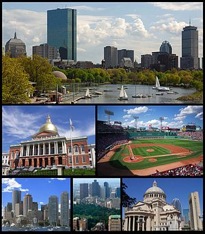Clockwise: Skyline of Back Bay seen from the Charles River, Fenway Park, Church of Christ, Scientist, Boston Common and the Downtown Crossing skyline, skyline of the Financial District seen from the Boston Harbor, and Massachusetts State House