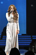 Cyrus performing Bottom of the Ocean on the Wonder World Tour.