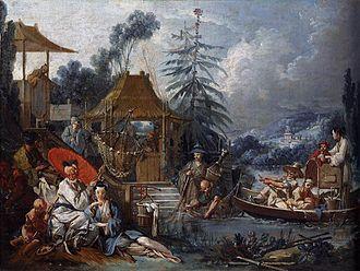 Beauvais Manufactory - La pêche chinoise, 1742, one of Boucher's chinoiserie designs woven at Beauvais (Musée des Beaux-Arts et d'archéologie de Besançon)