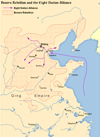 Battle of Langfang - Boxer Rebellion, Eight-Nation Alliance and the location of Langfang