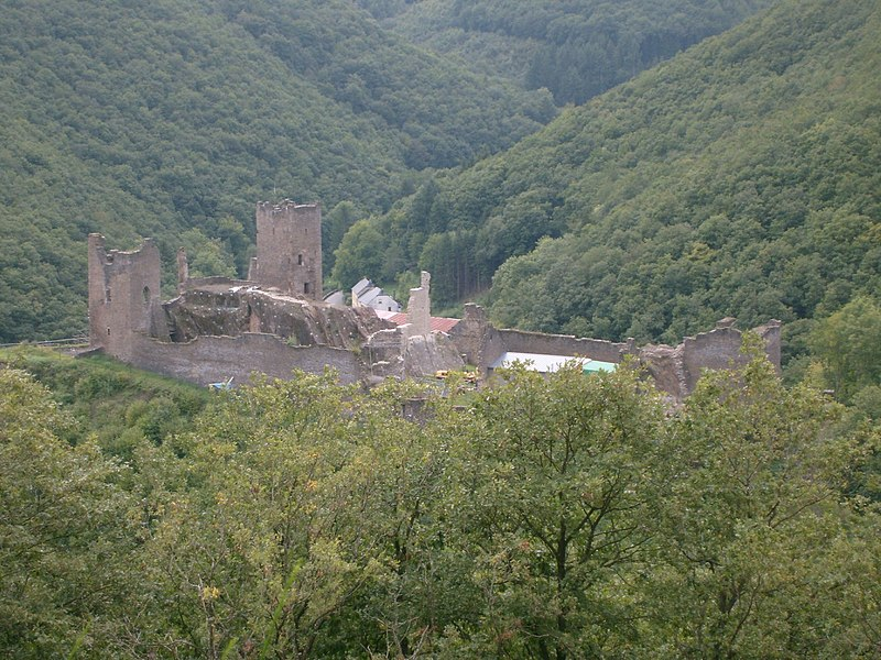 The Castle of Brandenbourg, Luxembourg. View from North-East, viewpoint on hiking trail Victor Hugo.