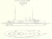 Line drawing for this type of ship; the vessel had three large gun turrets on the centerline and two thin smoke stacks.