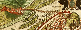 Pont Saint-Bénézet - The bridge in a print published in 1575 with the arches intact