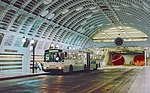 Breda dual-mode bus at Pioneer Square station in Downtown Seattle Transit Tunnel 1994.jpg