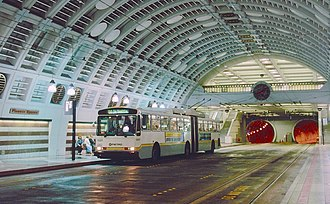 Trolleybuses in Seattle - One of the 236 Breda dual-mode buses that operated as trolleybuses inside the Downtown Seattle Transit Tunnel from 1990 to 2005