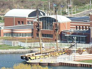 Erie Maritime Museum - The US Brig ''Niagara'' docked behind the Erie Maritime Museum.