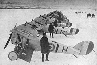 No. 1 Squadron RAF - 27 December 1917: No.1 RAF Squadron with Nieuport 17s and Nieuport 24s at Bailleul. See