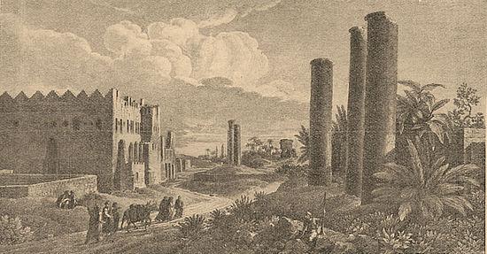 Развалины города Александрии. Рисунок L. F. Casas'a («Voyage pittoresque de la Syrie, de la Phénicie, de la Palestine et de la Basse Egypte, II»).