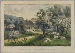 Currier and Ives - Brooklyn Museum, American Homestead Spring, Currier and Ives