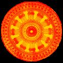 Budist dharm çakrası.  Bir araba tekerleği gibi olan, Budizm'in popüler bir sembolüdür.