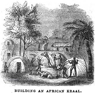 Kraal - Image: Building an African Kraal (July 1853, X, p.78) Copy