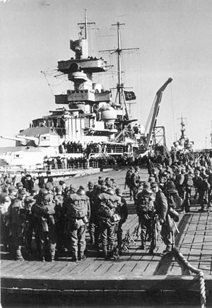 German cruiser Admiral Hipper - Admiral Hipper loading mountain troops in Cuxhaven