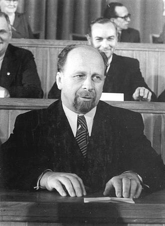 Walter Ulbricht - Ulbricht addresses the People's Chamber in 1950. His modeling of his beard on that of Lenin did not go unremarked by contemporaries