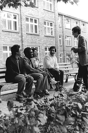 People's Republic of Kampuchea - PRK students Meak Chanthan and Dima Yim (3d from left and standing) at Frankfurt an der Oder (East Germany) in 1986.