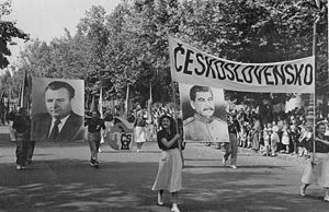 Klement Gottwald - Celebration of International Children's Day 1949, in Budapest, Hungary. The photograph shows the Czechoslovak delegation; left is a portrait of Gottwald, on the right, Stalin.