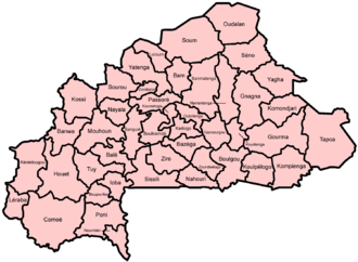 Provinces of Burkina Faso - Provinces of Burkina Faso with names