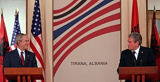 Sali Berisha - Sali Berisha and George W. Bush in Tirana, June 2007