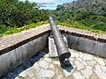 Butrint, view from fortress along Vivari Channel towards Ali Pasha's fort and Korfu.jpg