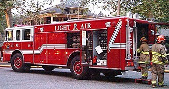 Fire engine red - Support 42 in Butte County, California. US
