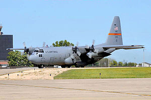 182d Airlift Wing - C-130 of the 182d Airlift Wing Taxiing at Peoria Air National Guard Base