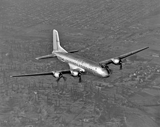 Douglas C-74 Globemaster - C-74 Globemaster over Long Beach, California.