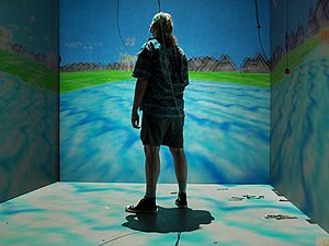 "Cyberdelic - The cave automatic virtual environment is an immersive virtual reality environment that provides a ""cyberdelic experience"" where the user can contemplate perception, reality and illusion"