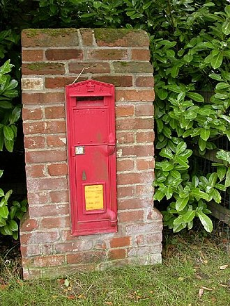 Wall box - The only known example of the large 2nd National Standard wall box is at Boydon End, Wickhambrook, in Suffolk
