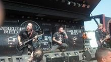 From left to right: Jeremy Edge, Brian Dugan, Ryan Hoke and Jamie Morral performing at the Rockstar Energy Uproar Festival in Burgettstown, Pennsylvania in August, 2012