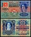 CZE-2-Republika Ceskoslovenska-20 Korun (1919, Provisional issue).jpg