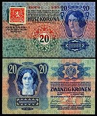 CZE-2-Republika Ceskoslovenska-20 Korun (1919, foreløpig utgave) .jpg