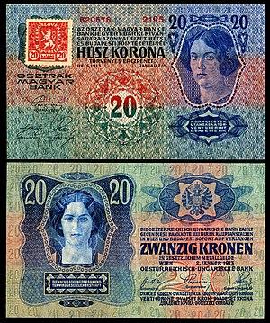 Banknotes of the Czechoslovak koruna (1919) - Image: CZE 2 Republika Ceskoslovenska 20 Korun (1919, Provisional issue)