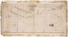 Caert van't Landt van d'Eendracht - An image of the chart which is oriented with north to the left and shows the degrees of latitude on the bottom of the chart