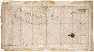 Eendrachtsland - Caert van't Landt van d'Eendracht - An image of the chart which is oriented with north to the left and shows the degrees of latitude on the bottom of the chart.