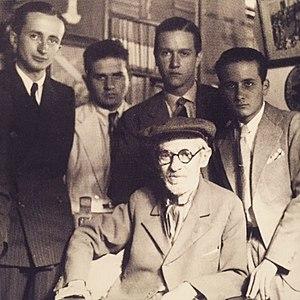 Rafael Caldera - Pedro José Lara Peña, Víctor Giménez Landínez, Rafael Caldera and Edmundo Izarra, during a visit to writer Tulio Febres Cordero (Mérida, 1936)