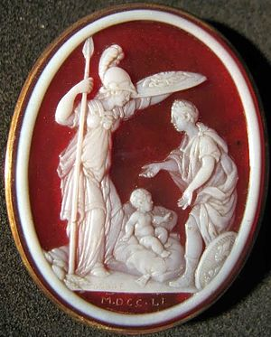 Jacques Guay - Cameo of Minerva and France protecting a newborn child (1751)