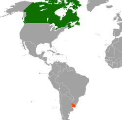 Map indicating locations of Canada and Uruguay
