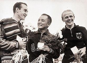Diving at the 1952 Summer Olympics – Men's 10 metre platform - Left-right: Capilla, Lee, Haase