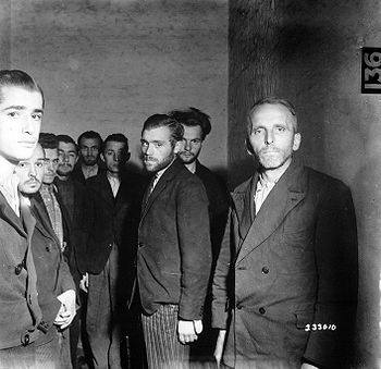 German Gestapo agents arrested after the fall of Liege, Belgium, are herded together in a cell in the citadel of Liege