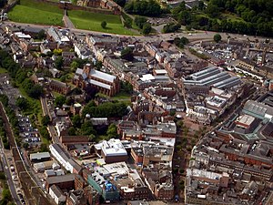 Carlisle, Cumbria - Image: Carlisle Cathedral from the Air