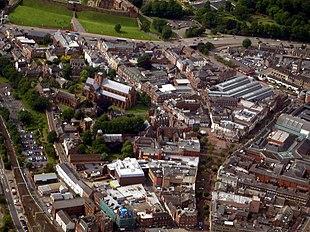 Aerial view of Carlisle city centre