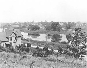 View of Carpentersville from the cemetery, 1898