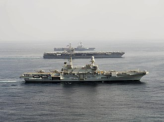 Italian aircraft carrier Cavour - Image: Carriers Cavour (550) Harry S. Truman (CVN 75) and Charles de Gaulle (R91) underway in 2013