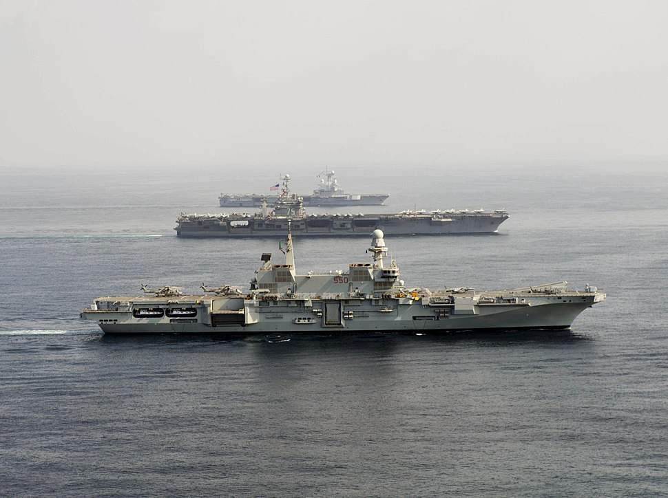 Carriers Cavour (550) - Harry S. Truman (CVN-75) and Charles de Gaulle (R91) underway in 2013