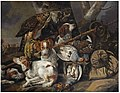 Carstian Luyckx - A hunting still life of partridges with four Springer spaniels, a hawk, a game-bag and belt and other.jpg