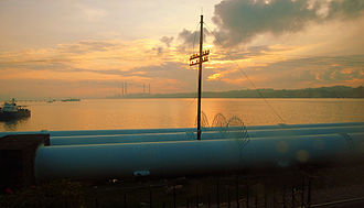 Johor - The water pipeline at the causeway, which provides much of Singapore's water supply.