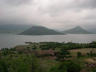"""Canton of Lodève - View of the """"Lac du Salagou"""" in Celles"""